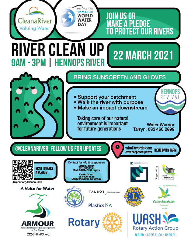 #CleanaRiver with HennopsRevival on the Hennops River or Make a Pledge to Assist