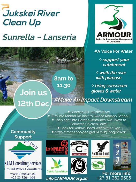 The Year End Lanseria Sunrella and Northern Farm Cleanup of the Jukskei River with #ARMOUR #Voice4Water